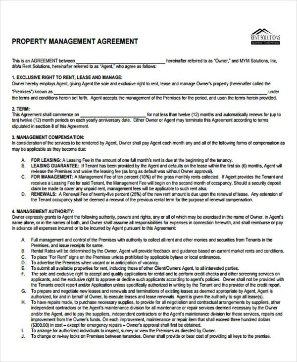 9+ Management Agreement Templates - Free Sample, Example Format - management contract template