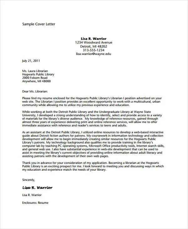 9+ Librarian Cover Letter Free  Premium Templates
