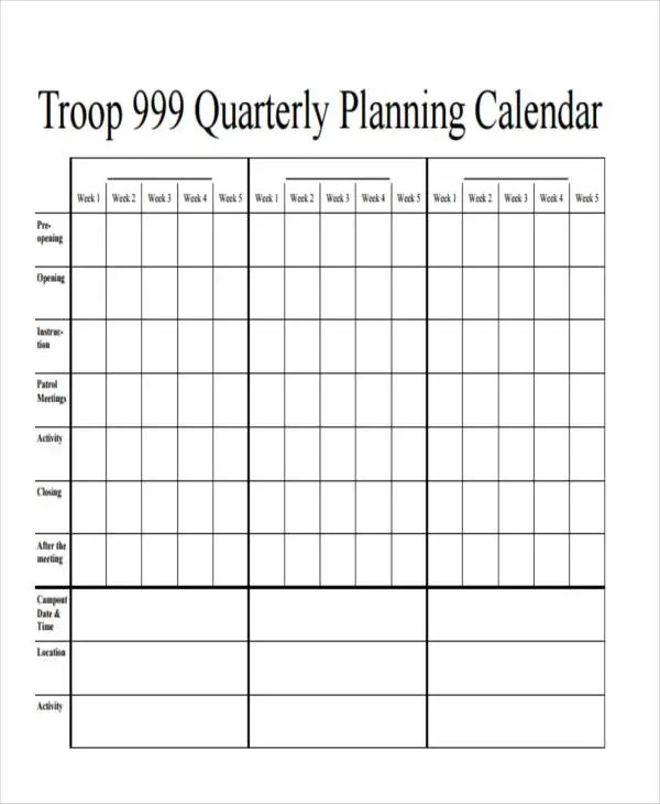 7+ Quarterly Calendar Templates - Word, PDF Free  Premium Templates - calendar template for word