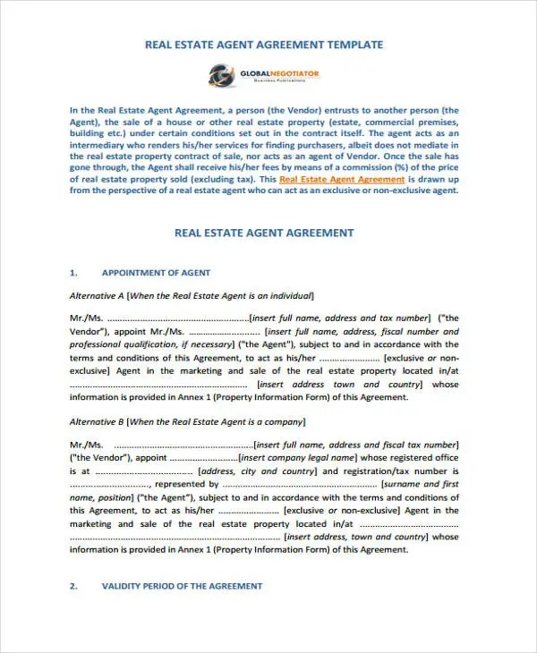 Agent Contract Templates - 9+ Free Word, PDF Format Download Free - agent contract template