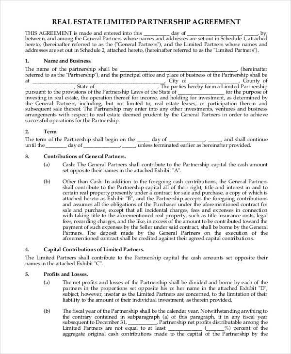 partnership contract sample