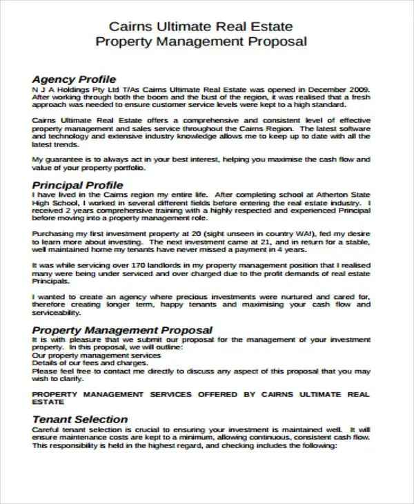 Real Estate Business Proposal Templates - 9 Free Word, PDF Format - property management proposal template
