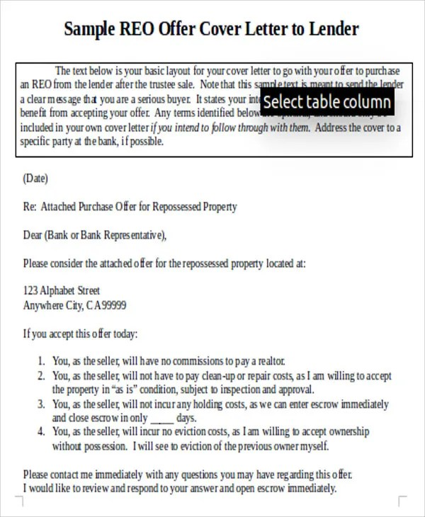 7+ Real Estate Offer Letter - Free Sample, Example Format Download - real estate cover letter samples