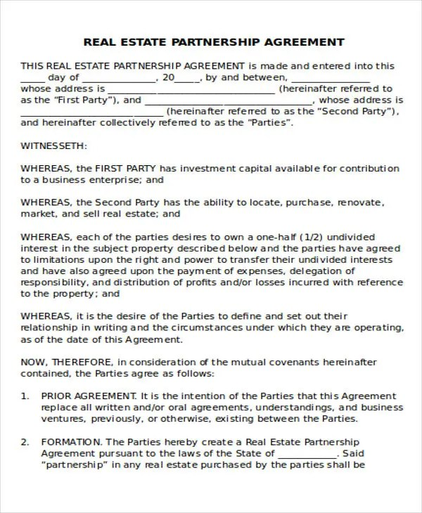 ... Real Estate Partnership Agreement Real Estate Partnership   General Partnership  Agreement ...
