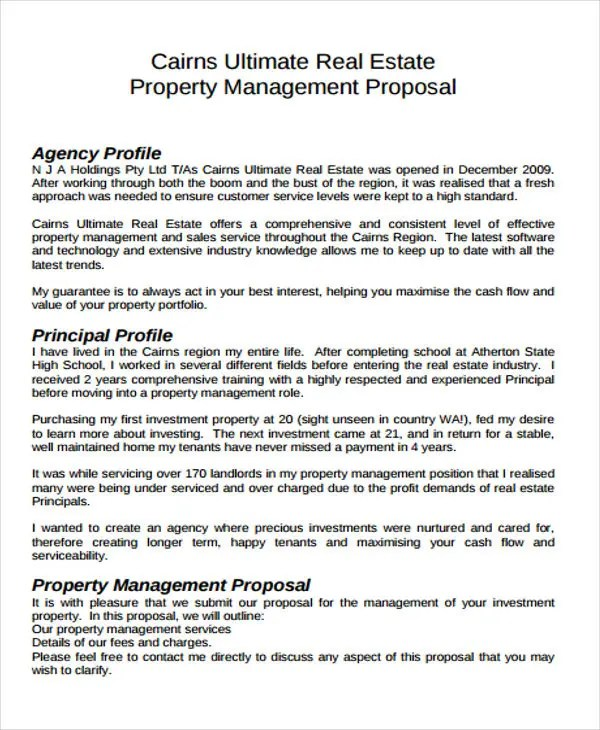 12 Real Estate Business Proposal Templates - Free Sample, Example - property management proposal template