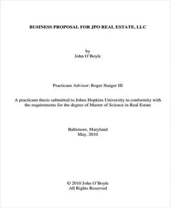 12 Real Estate Business Proposal Templates - Free Sample, Example - real estate proposal template