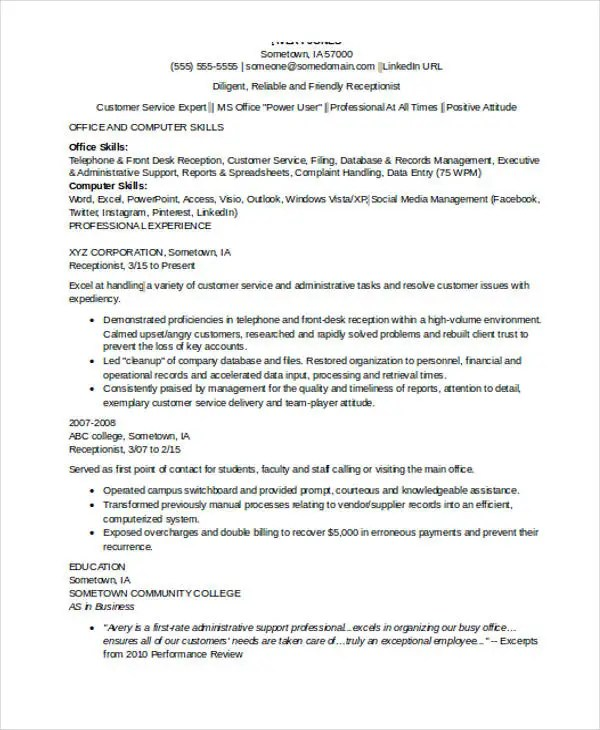 10+ Receptionist Resumes - Free Sample, Example Format Download - receptionist skills resume