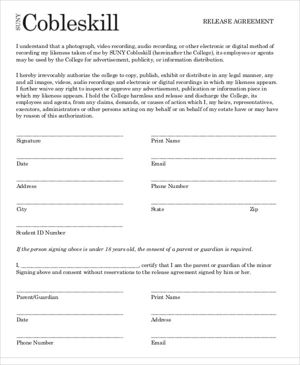 Release Agreement General Photography Contract Stunning - general liability release form template