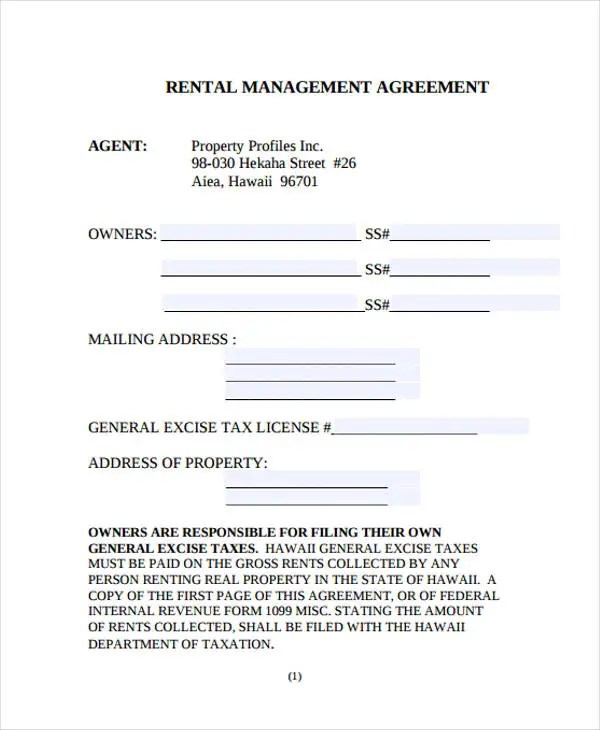 landlords property management agreement template to download - rental management template