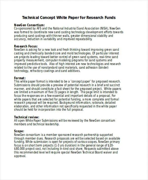 concept paper format - Deanroutechoice - white paper template