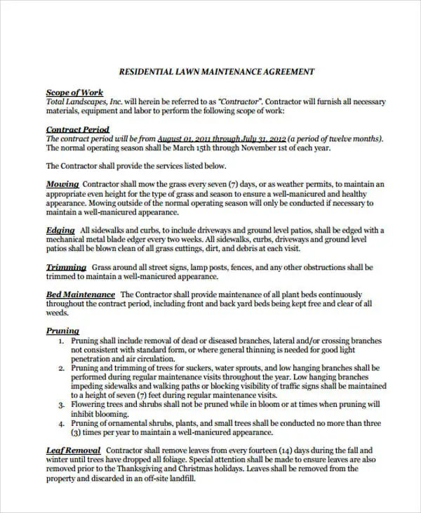 6+ Lawn Service Contract Templates - Free sample, Example Format - property maintenance contract template