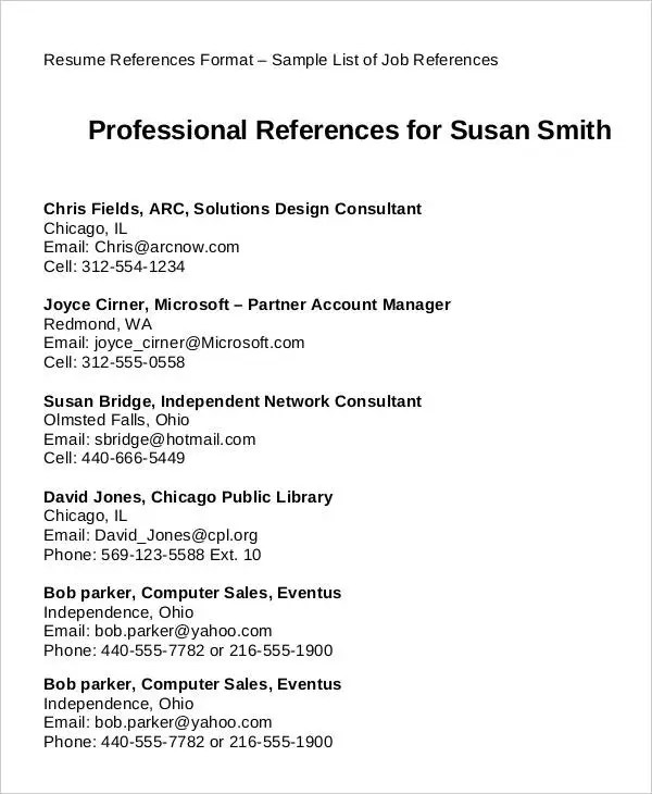 Resume References Format Example - Examples of Resumes - How To Write Resume References