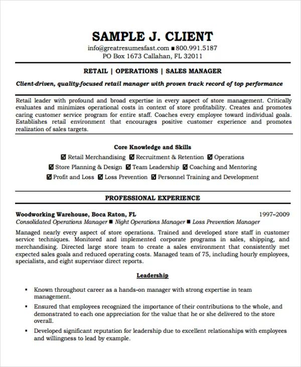 director of operations resume template