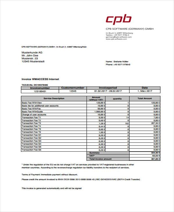 7+ VAT Invoice Templates - Word, PDF Free  Premium Templates