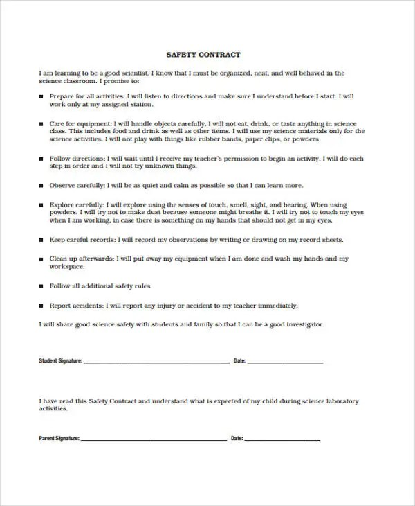Safety Contract Template  EnvResumeCloud