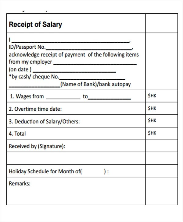 15+ Salary Receipt Templates - Free Sample, Example Format Download - Examples Of Receipts For Payment