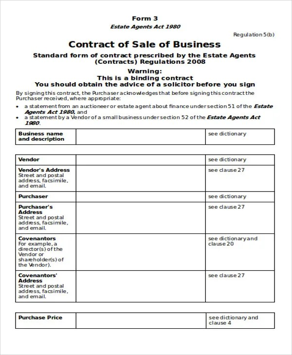 6+ Business Contract Templates - Free Sample, Example Format - business sale contract template