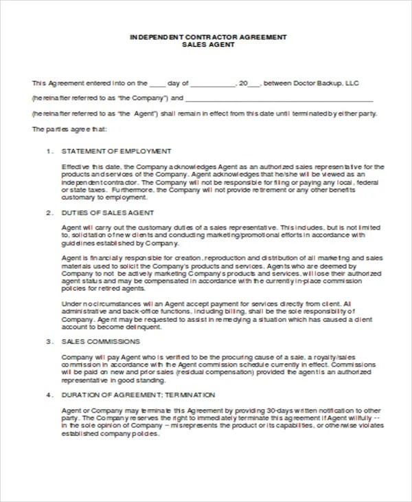 Agent Agreement Template Free  EnvResumeCloud