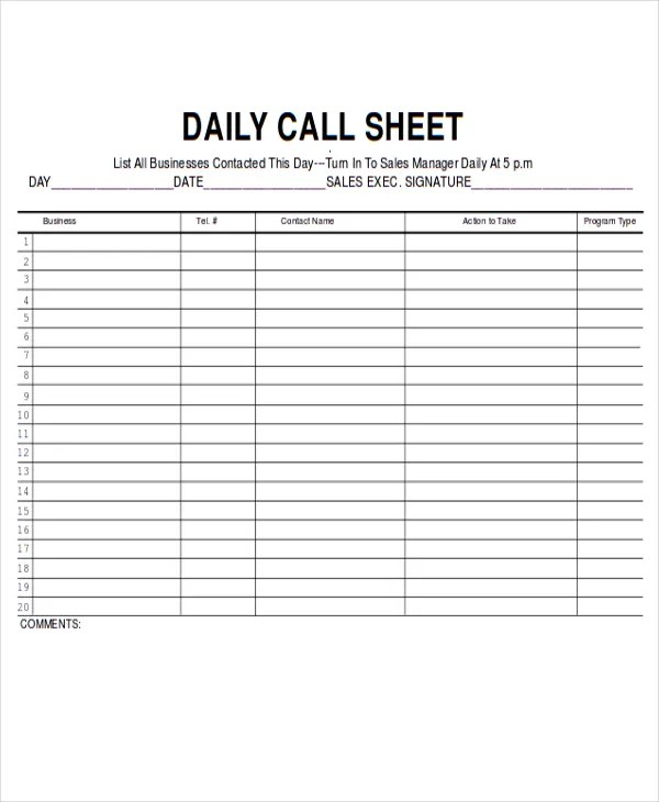 Phone Call Log Template Download A Free Call Sheet Template To - sales call report template