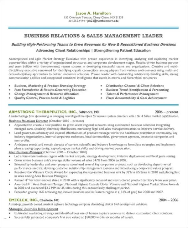 54 Manager Resumes in PDF Free  Premium Templates - business manager resume