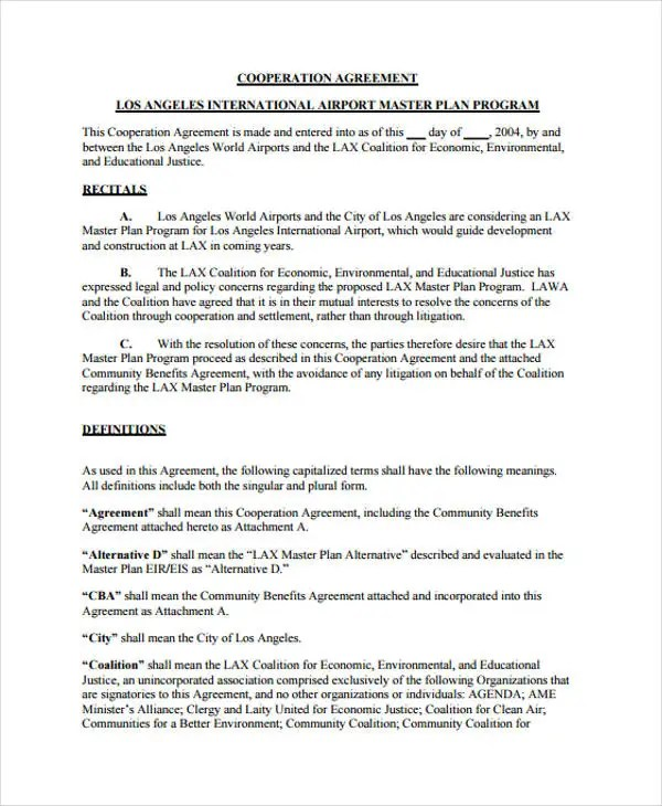 10 Cooperation Agreement Templates - Word, PDF Format Download - agreement templates