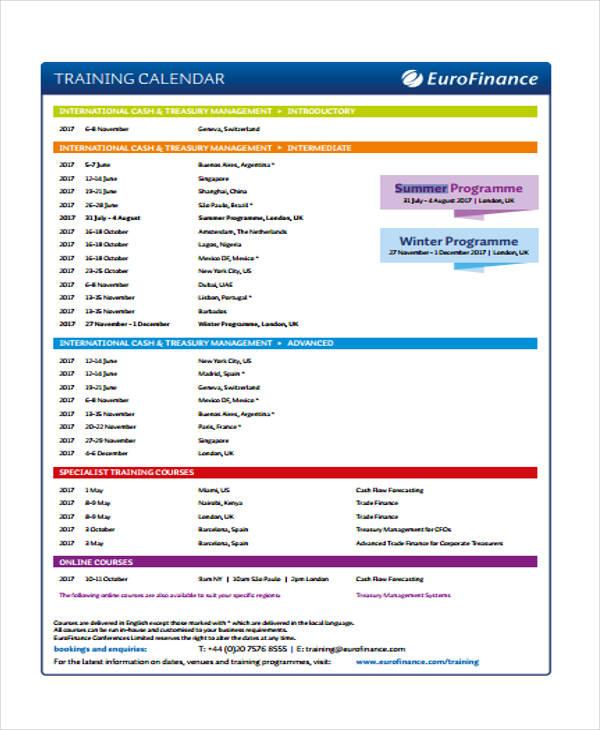 9+ Training Calendar Templates - Free Sample, Example Format
