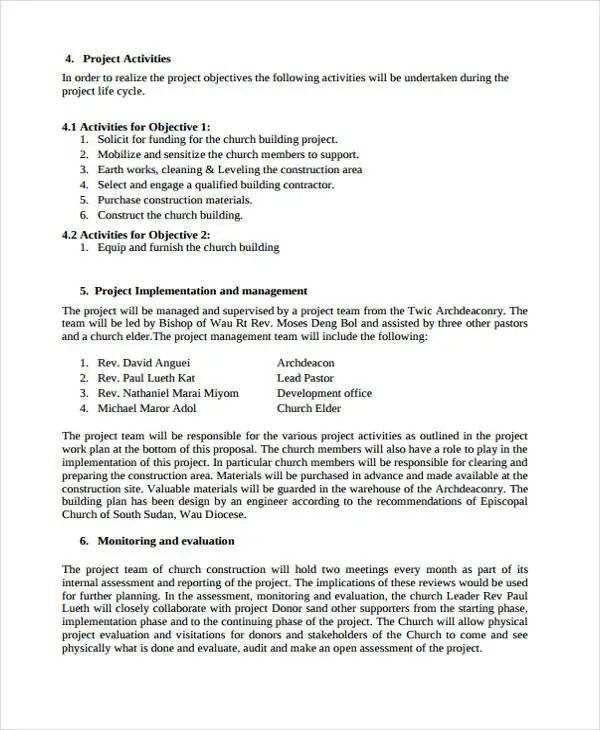 sample construction bid proposal