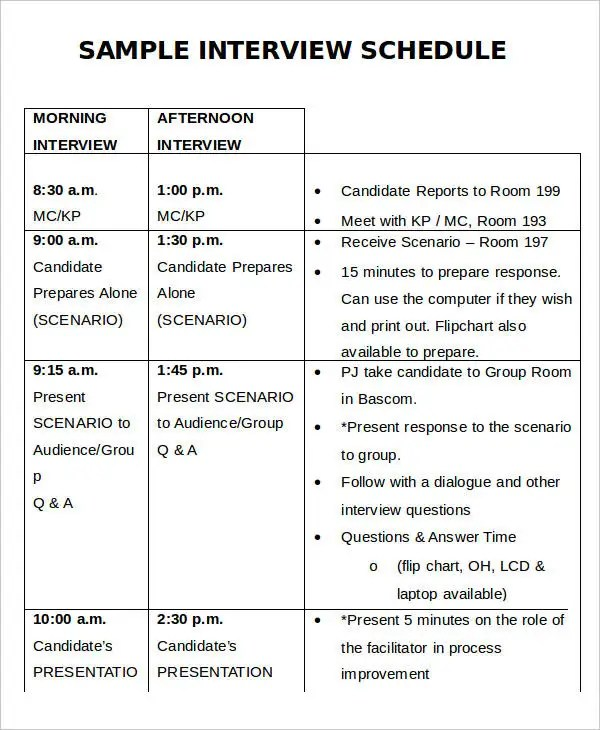 template for interview schedule