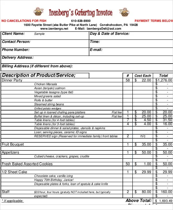 9+ Catering Invoice Templates - Free Sample, Example Format Download