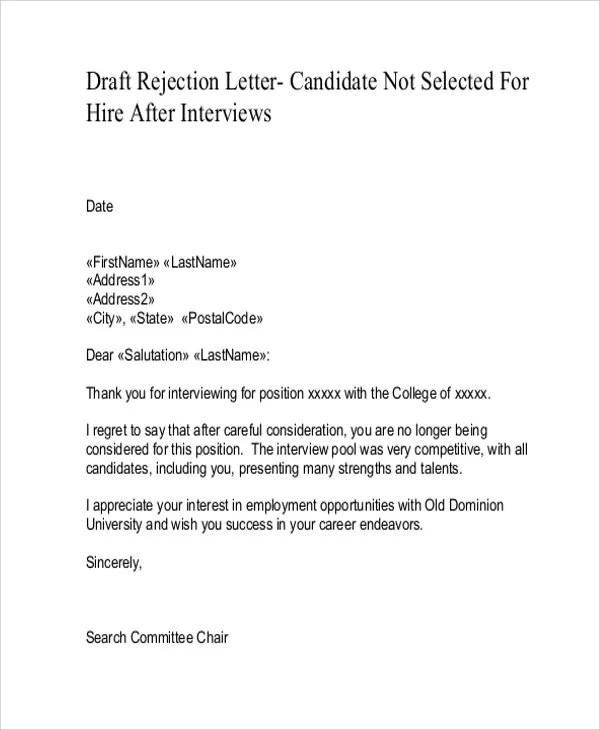 Job Rejection Letters - 10+ Free Word, PDF Format Download Free