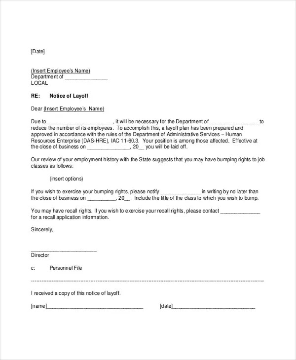 8 Layoff Notice Templates - Free Sample, Example Format Download - layoff notice template