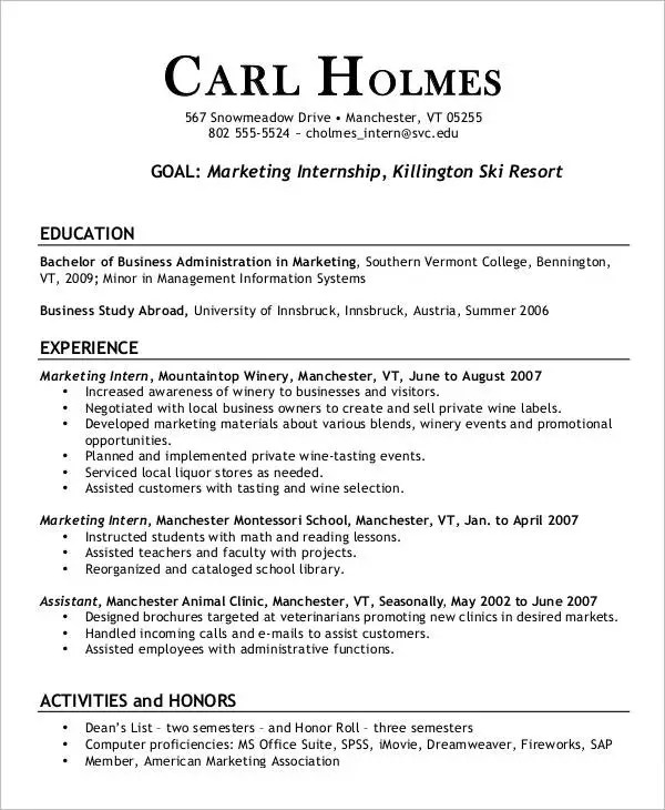 resume templates for internships