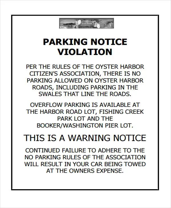 Unauthorized Parking Warning Letter Samples