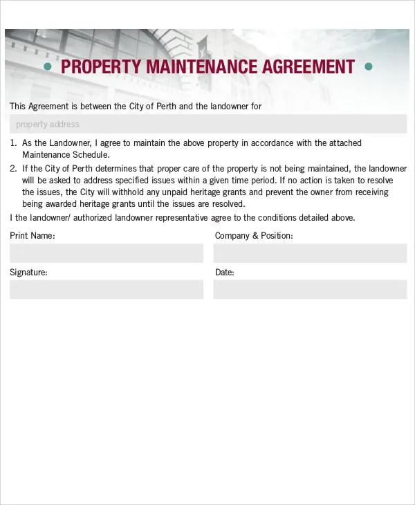 Maintenance Agreement Templates - 8+ Free Word, PDF Format Download
