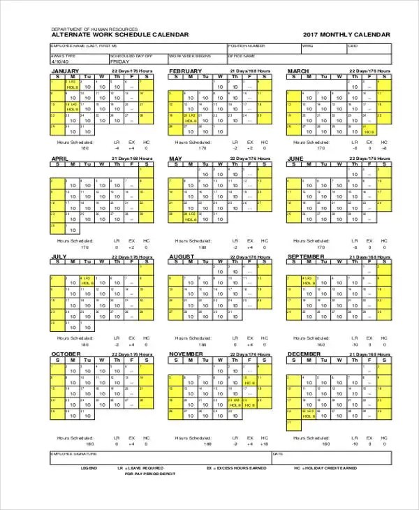 10+ Work Calendar Templates - Free Sample, Example Format Download