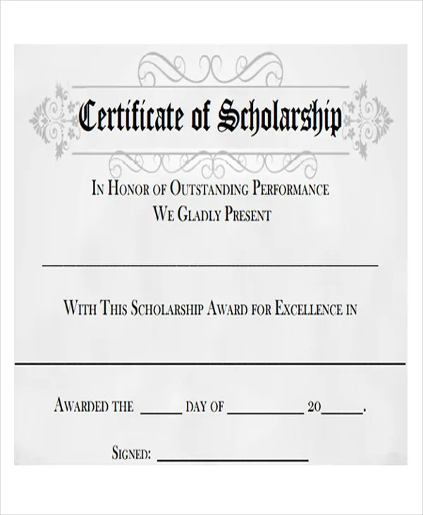 Scholarship Award Template scholarship award certificate - Scholarship Contract Template