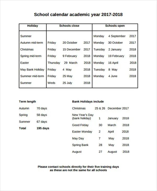 school calendar template - Pinarkubkireklamowe