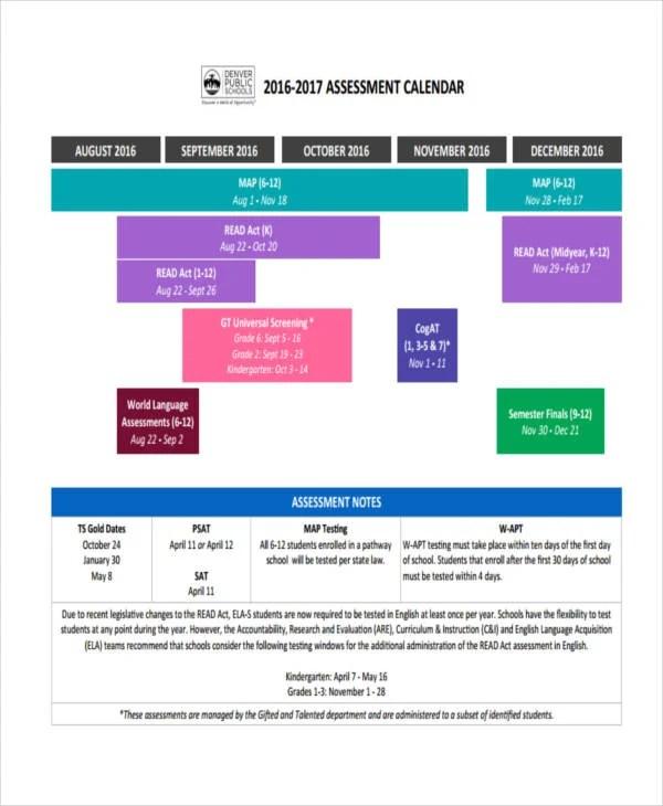 9+ Assessment Calendar Templates - Sample, Example Free  Premium - calendar template for website