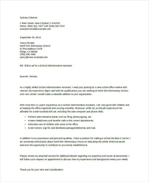 Administrative Assistant Cover Letters - 9+ Free Word, PDF Format