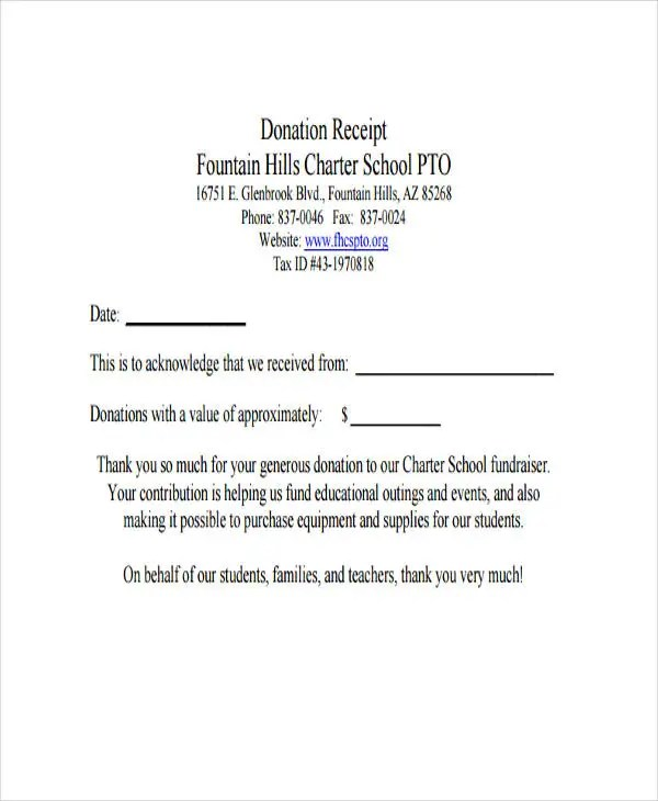 8+ Fundraiser Receipt Templates - Free Sample, Example Format