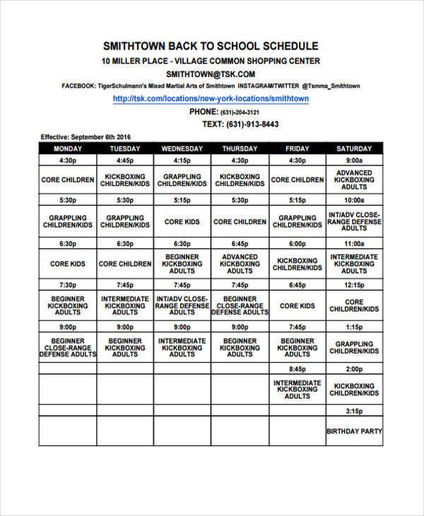9+ Kid\u0027s Schedule Templates - Sample, Examples Free  Premium