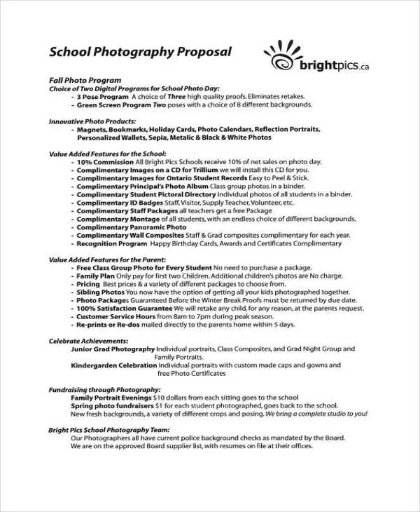 13+ Photography Business Proposal Templates - Free Sample, Example