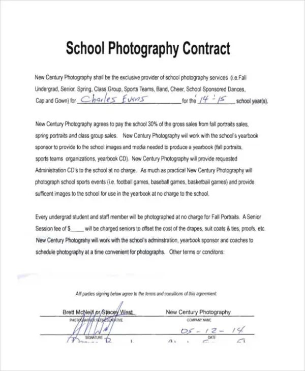 9+ Photography Contract Templates - Free Sample, Example Format - photography services contract