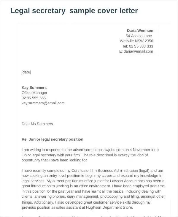 7+ Legal Cover Letters - Free Sample, Example Format Download Free