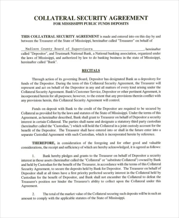 8+ Collateral Agreement Templates - Word, PDF Free  Premium Templates