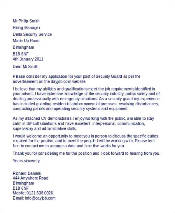 Application Letter For Security Job - Security Officer Cover Letter