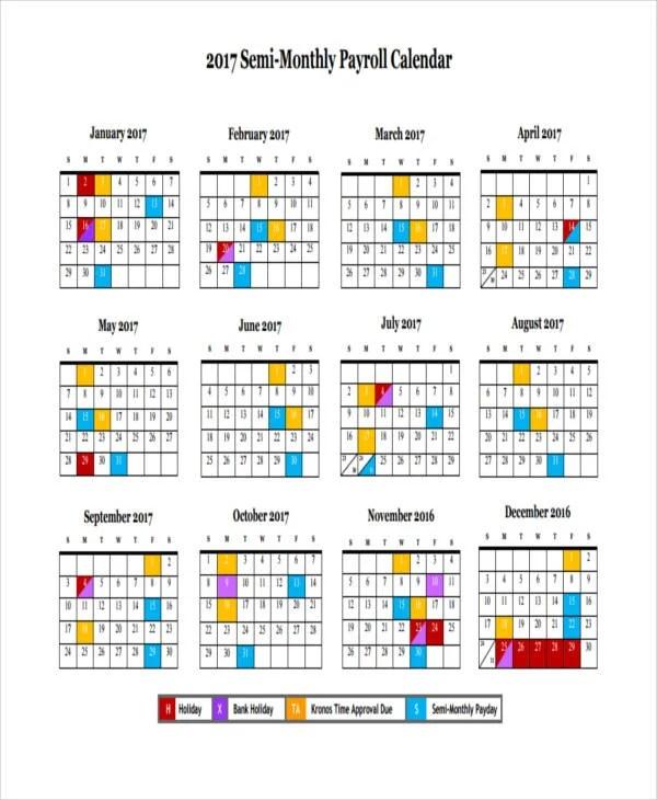 7+ Payroll Calendar Templates - Sample, Example Free  Premium - payroll calendar template