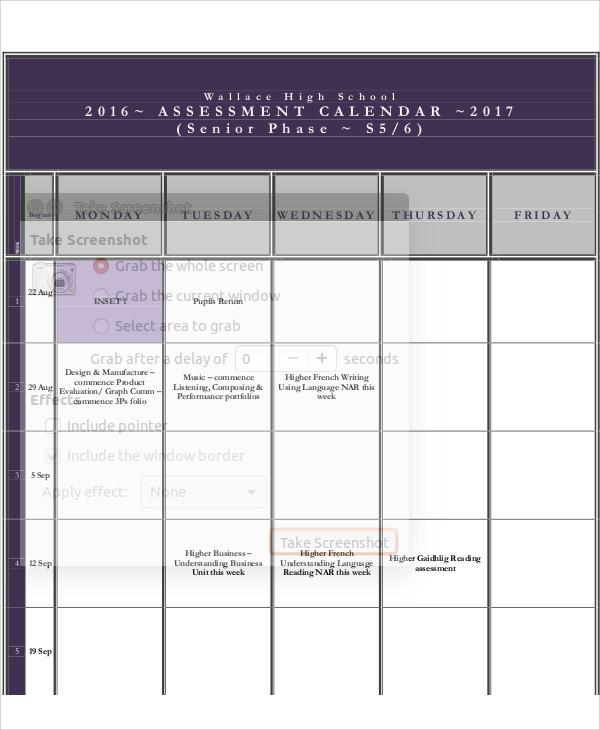 Assessment Calendar Templates - 9+ Free Word, PDF Format Download - assessment calendar template