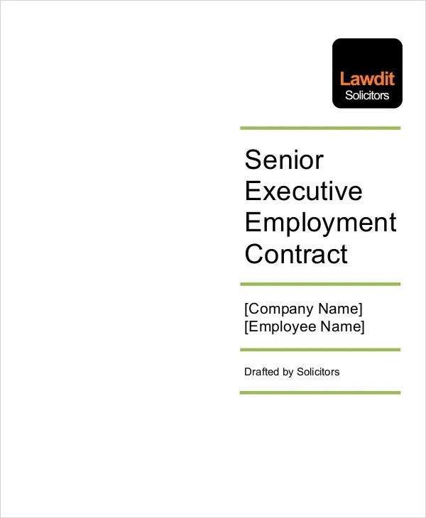 8 Employment Contract Templates - Free Sample, Example Format - executive employment contract