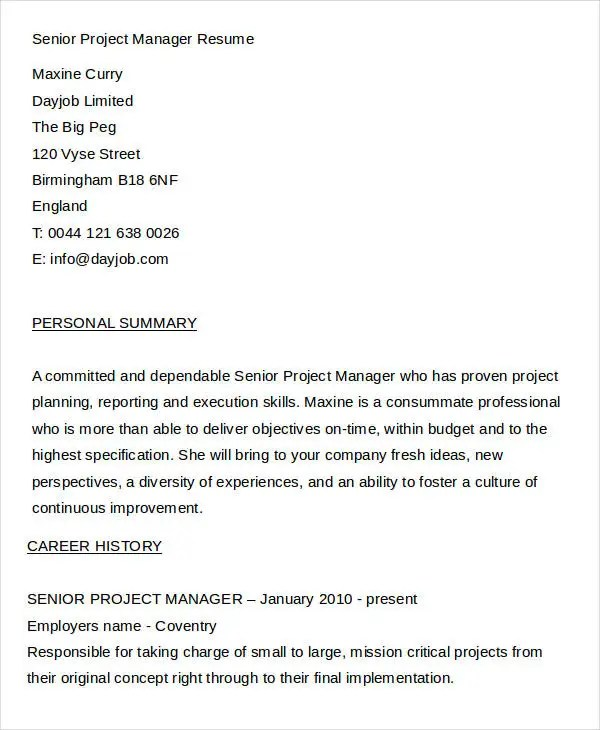 senior project manager resume sample entry level project manager